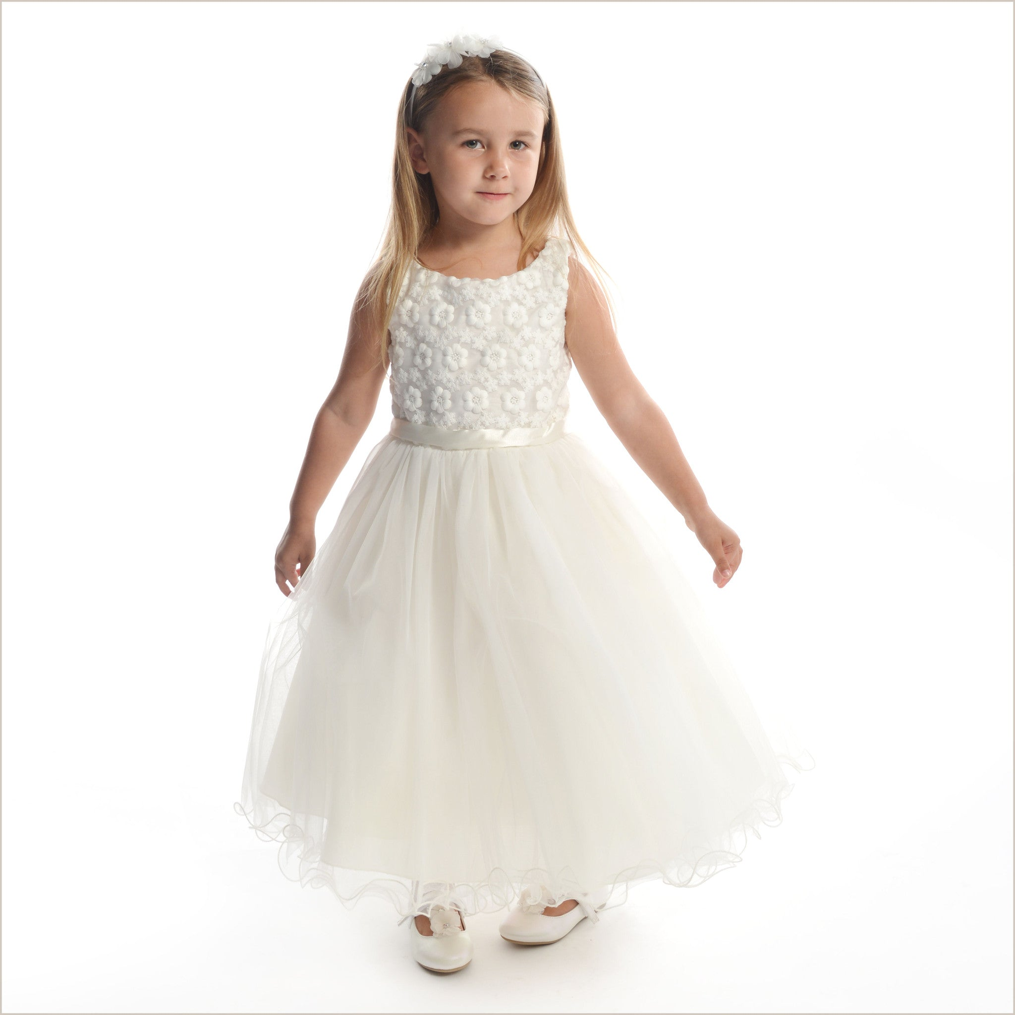 716607e6b874 Ivory Flower Girl Dress Daisy with Floral Bodice for Child Bridesmaids