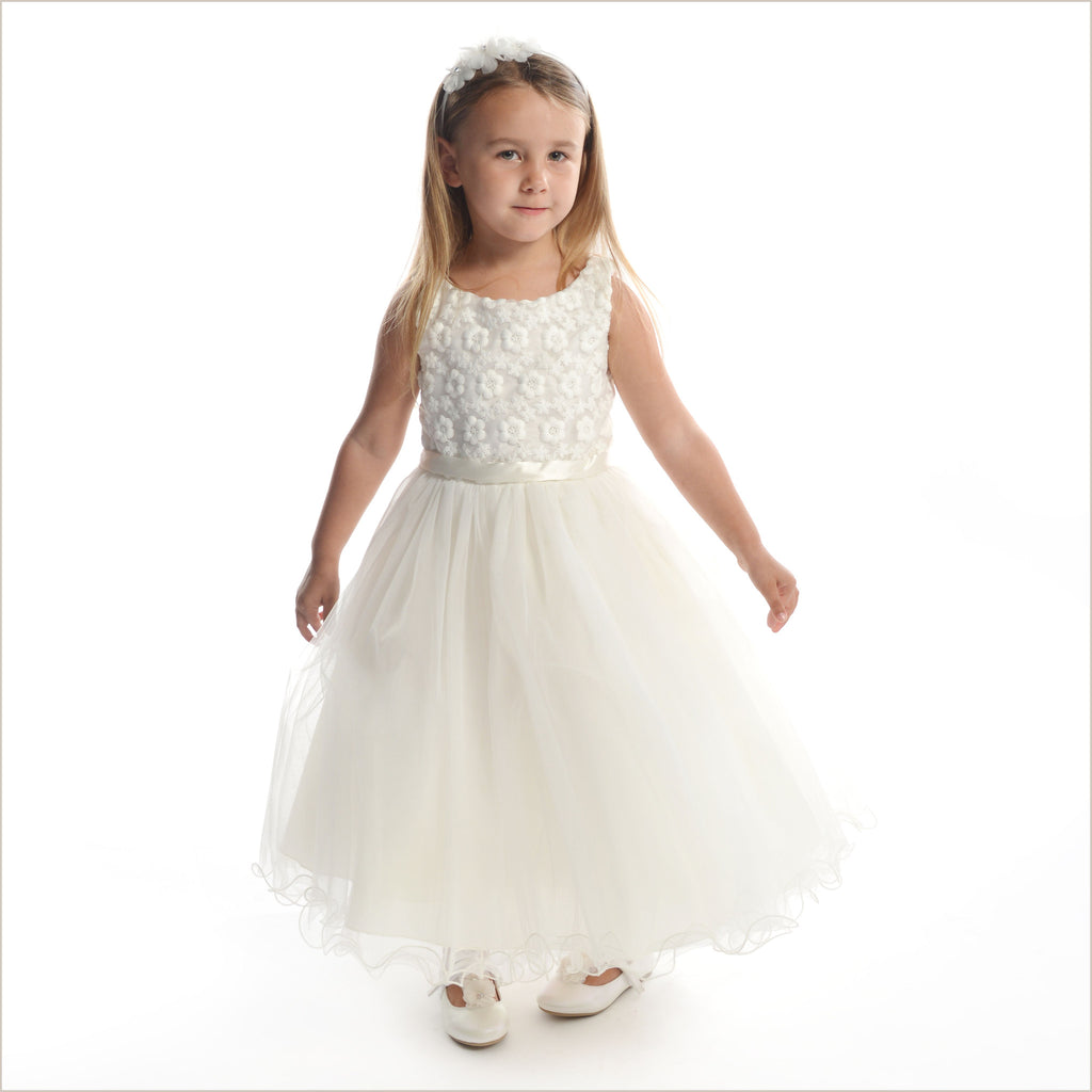 Ivory flower girl dress with daisies on bodice