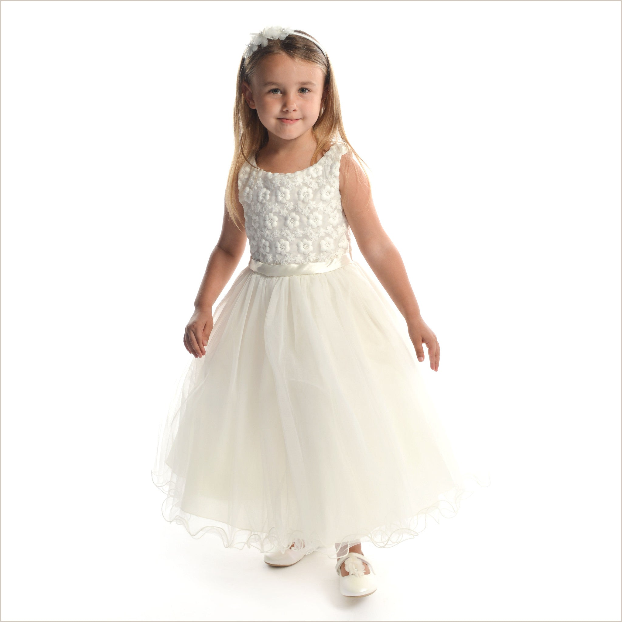 Ivory Flower Girl Dress Daisy with Floral Bodice for Child ...