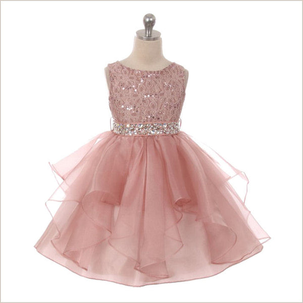 Darcey Dusky Pink Lace Flower Girl Dress
