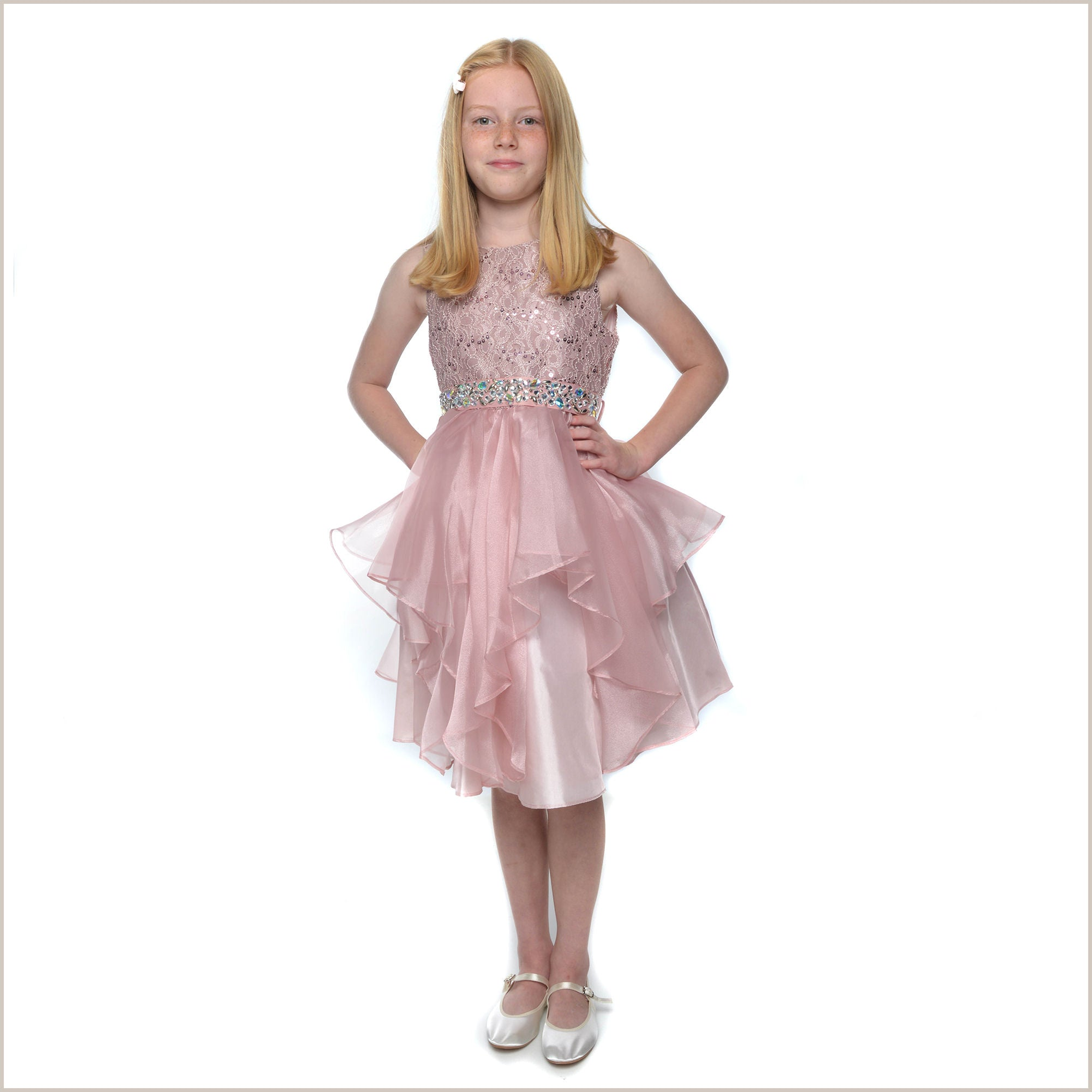 Darcey Dusky Pink Lace Sequin And Organza Flower Girl Dress