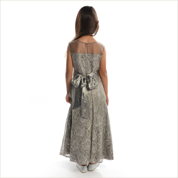 Diane Stunning Silver Junior Bridesmaid Dress 8-14 years