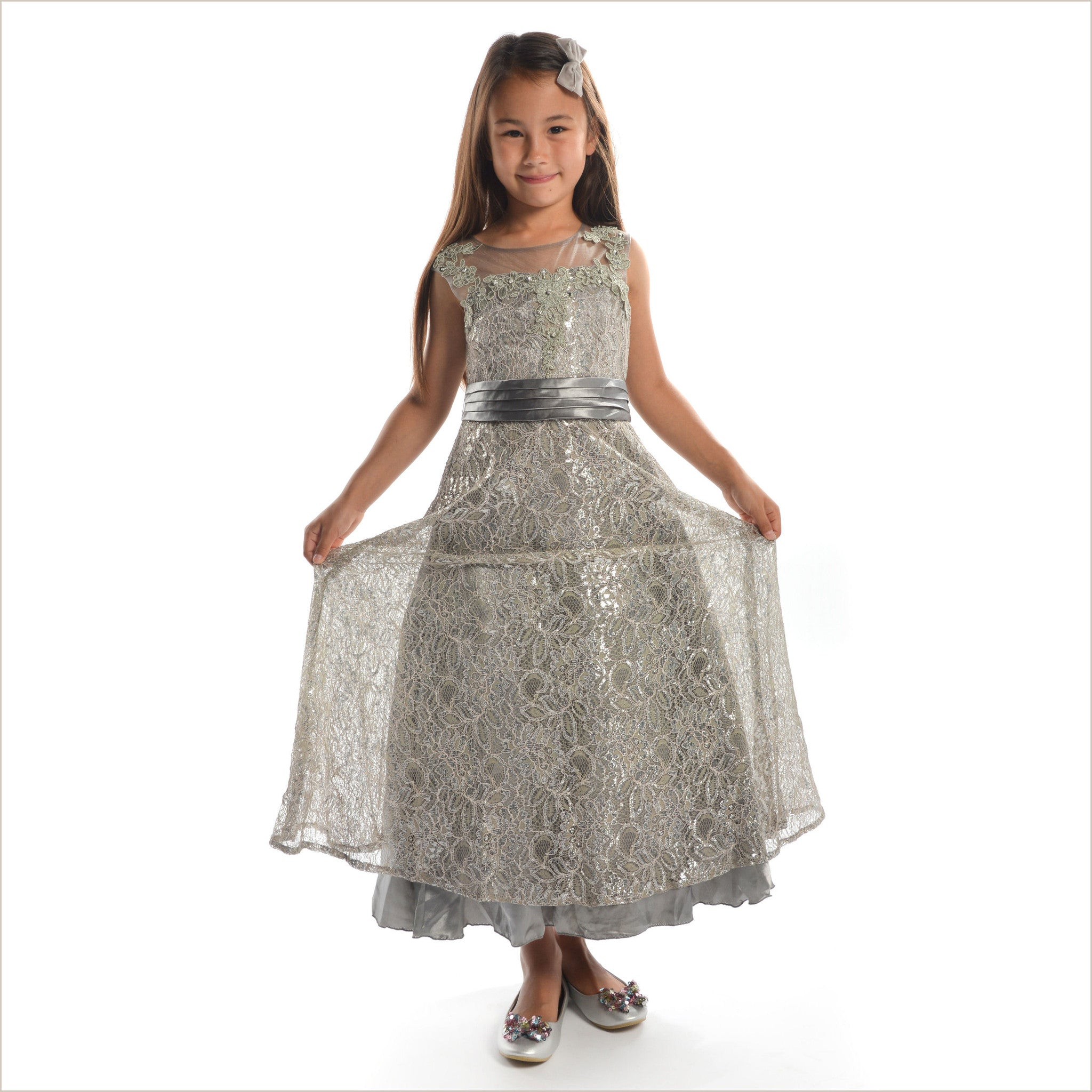 Diane stunning silver junior bridesmaid dress 8 14 years ombrellifo Image collections