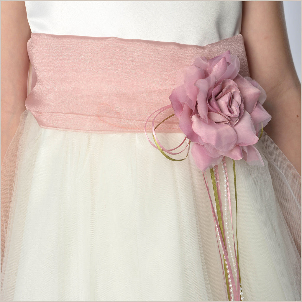 Ivory Petal Dress with Dusty Rose Pink Petals