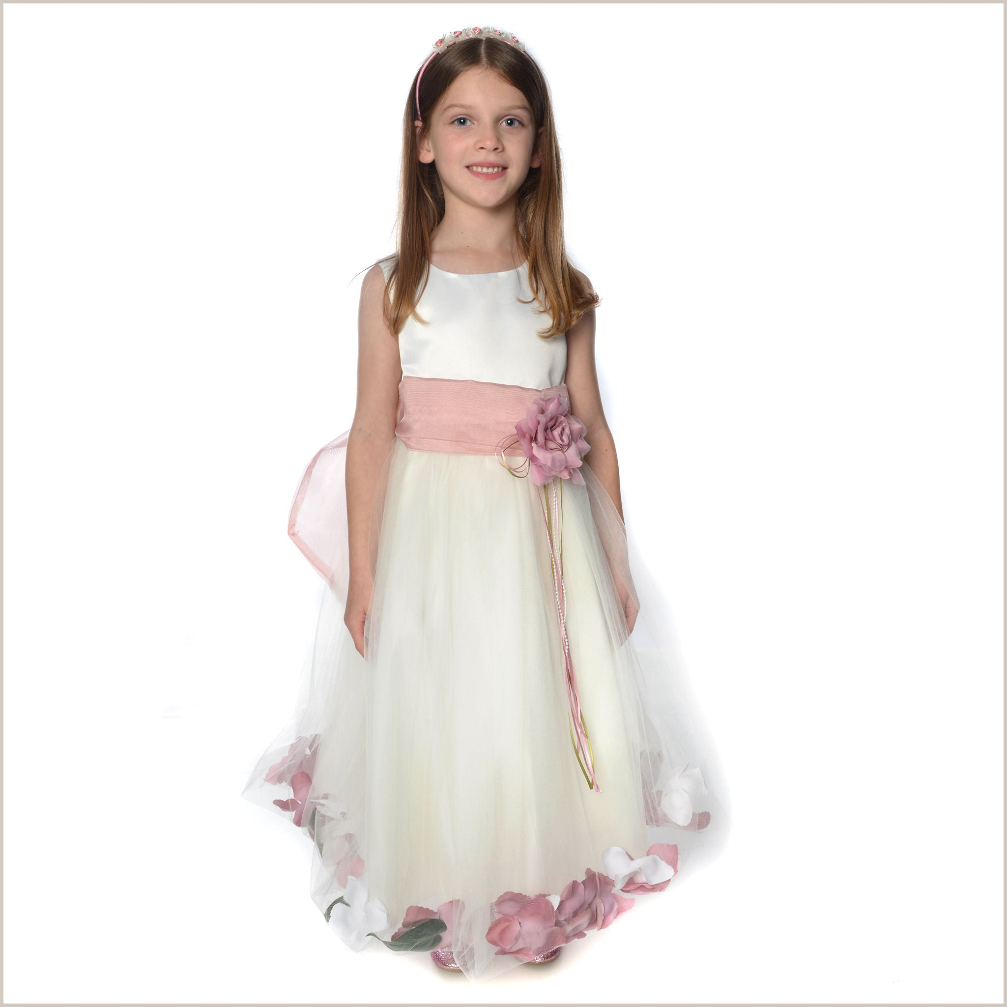 a3296a92b Ivory Petal Dress with Dusty Rose Pink Petals
