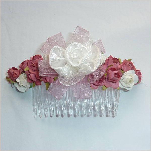 Flower Hair Comb in Dusky Pink