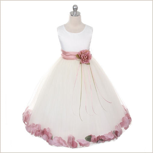 Ivory Petal Dress with Dusty Rose Pink Petals - 5 weeks delivery