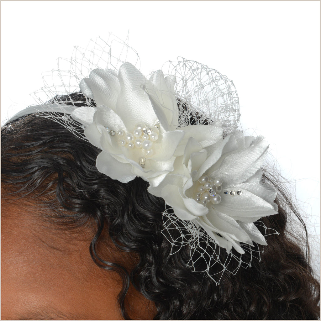 Ivory Flower & Net Fascinator Style Hairband