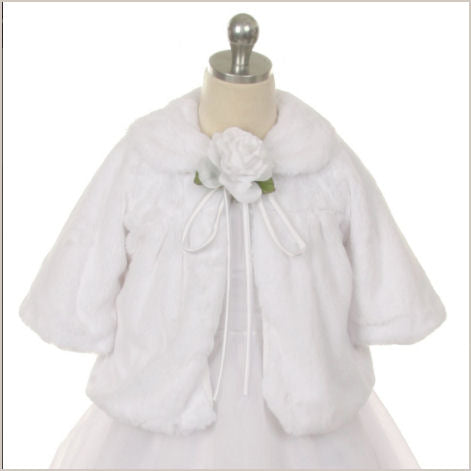 Ivory or White Soft 3/4 Length Sleeve Faux Fur Jacket