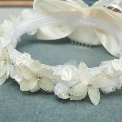 Floral Crown with Mesh Flowers in Ivory 58