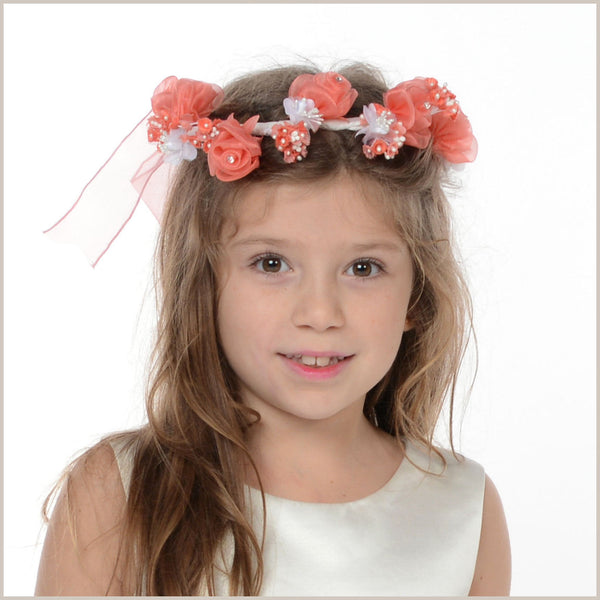 Floral Crown in Coral and White 59