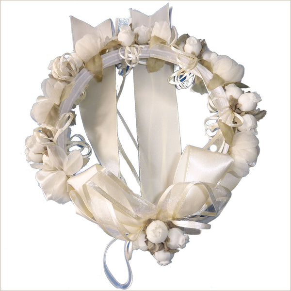 Floral Crown with Bow in Ivory 47