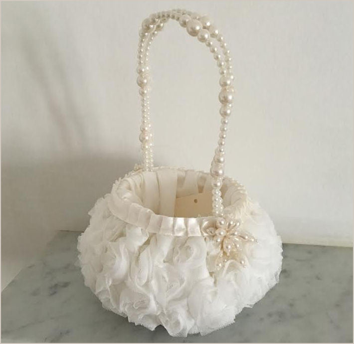 Flower Girl Basket with Pearl Handle