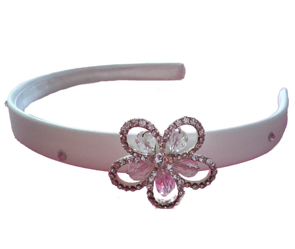 White Flower Hairband with Crystal and Diamante Flower