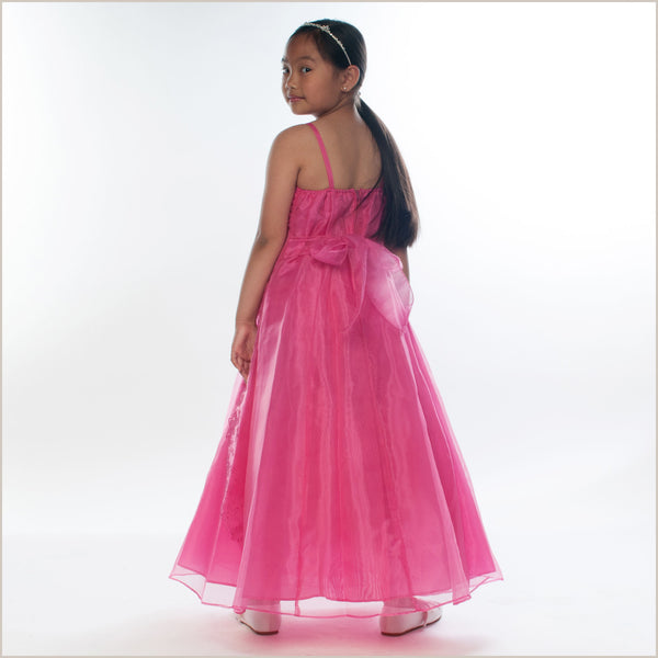 Ellie Fuchsia Long Junior Bridesmaid Dress with Caviar Beading