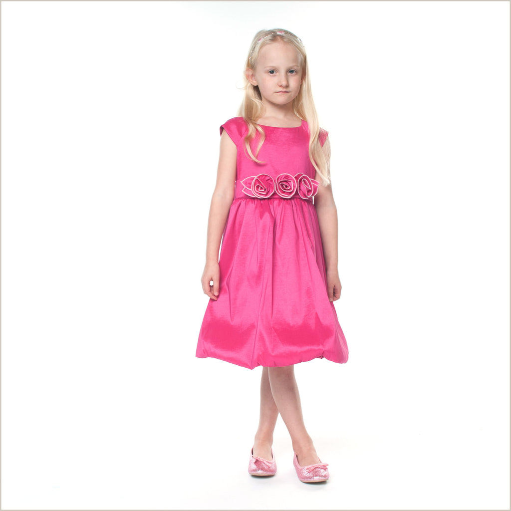 Julia Shocking Pink Flower Girl Dress with Rose Waist
