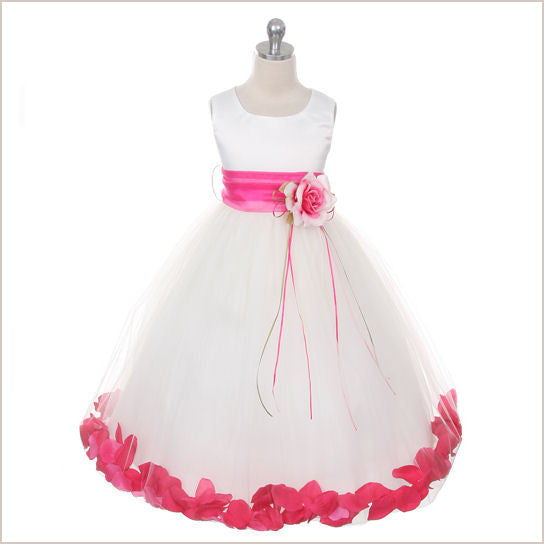 Ivory Petal Dress with Fuchsia Petals 6-12m and 18-24m only