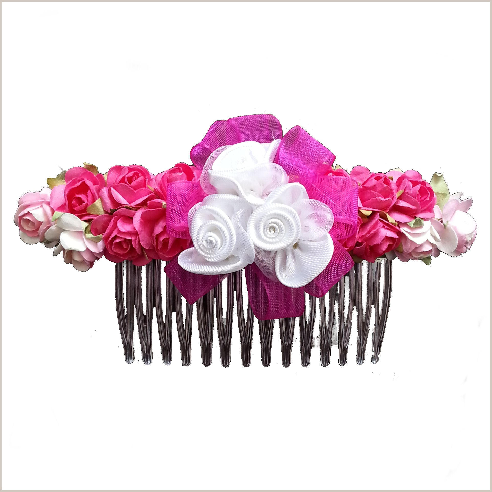 Fuchsia Pink Flower Hair Comb