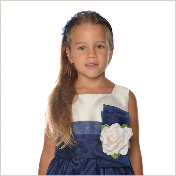 Georgia Cream & Navy Blue Flower Girl Dress