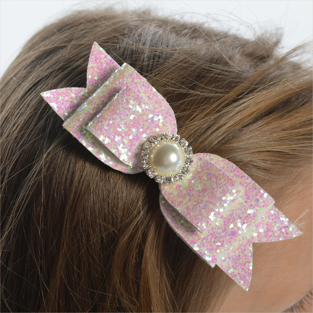 Flower Girl Glitter Bow Hairclip