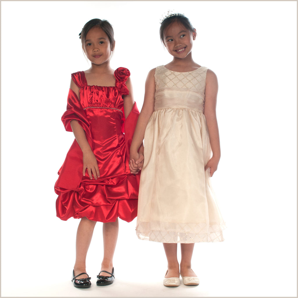 Cassie Gold Organza Flower Girl Dress LAST CHANCE TO BUY