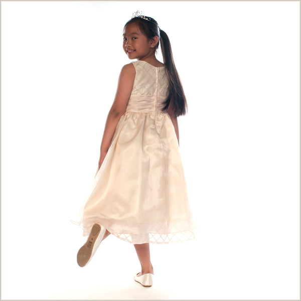 Cassie Gold Organza Flower Girl Dress