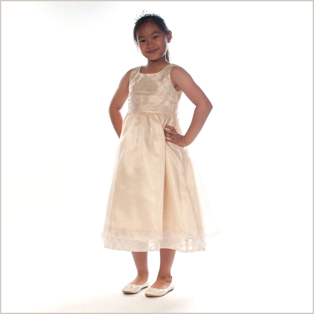 Cassie Gold Organza Flower Girl Dress LAST CHANCE TO BUY Demigella Flower G