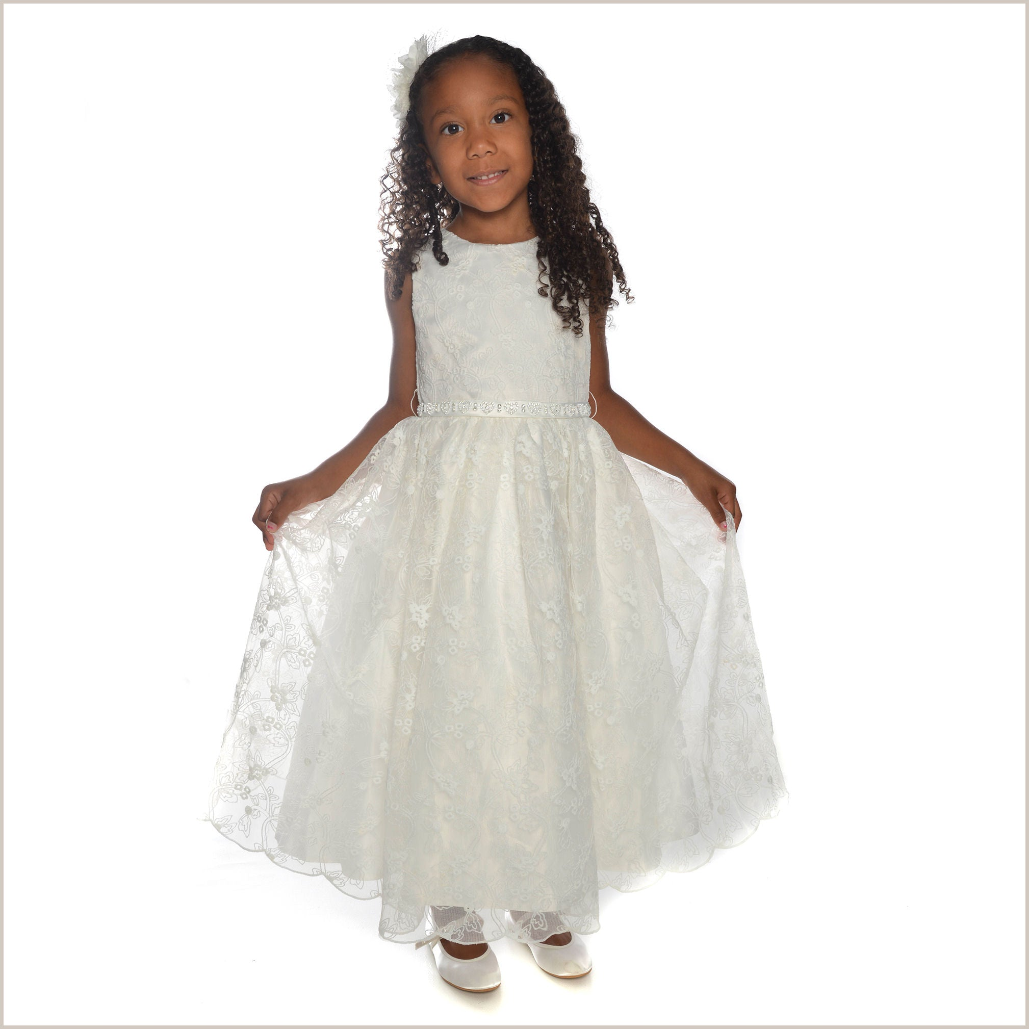 Grace Ivory Lace Flower Girl Dress With Hearts