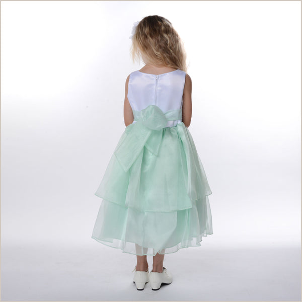 Zoe Mint Green & White Tiered Organza Flower Girl Dress