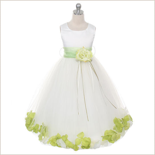 Ivory Petal Dress with Green Petals 8y only left