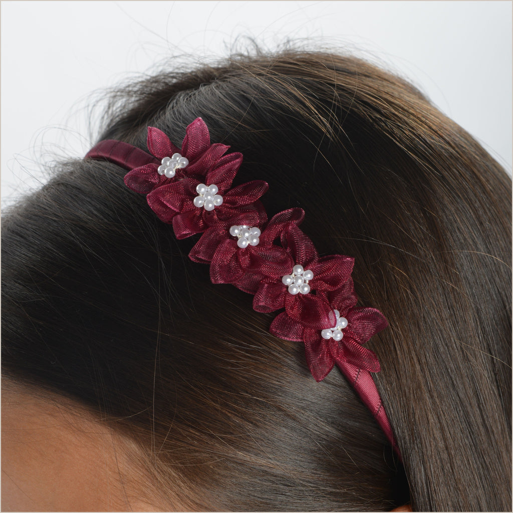 Burgundy Hairband with Organza Flowers
