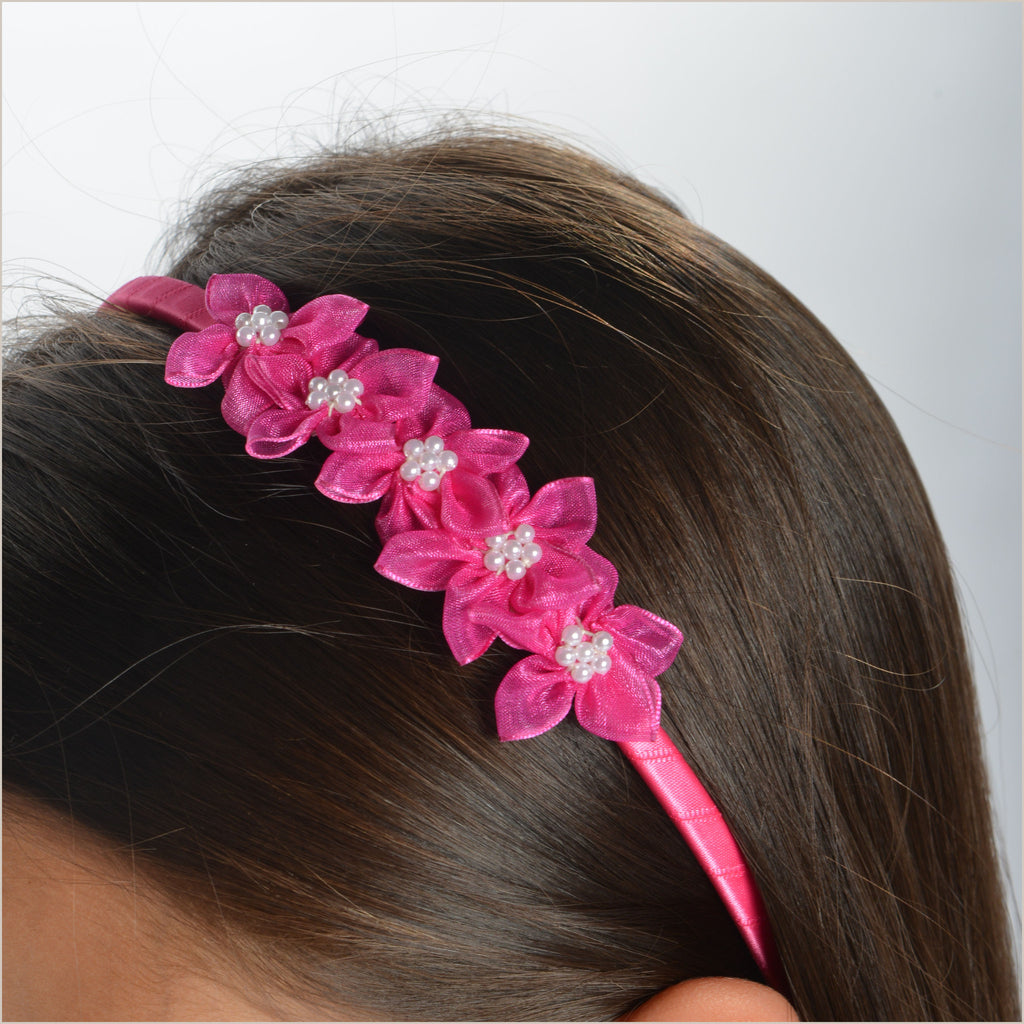 Fuchsia Pink Hairband with Organza Flowers
