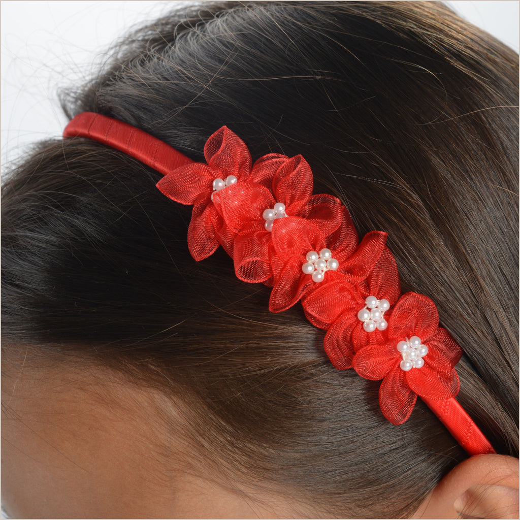 Red Hairband with Organza Flowers