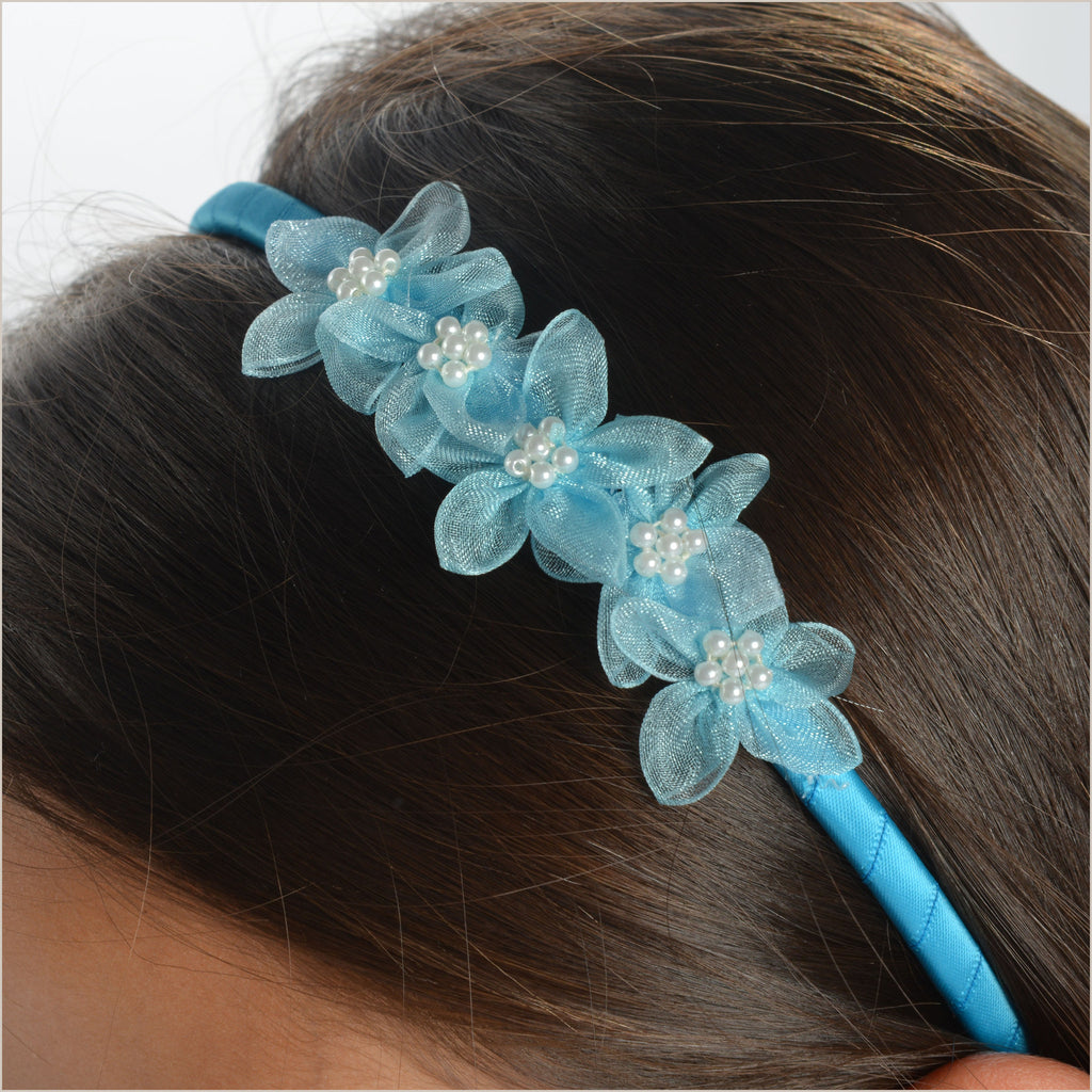 Turquoise Hairband with Organza Flowers