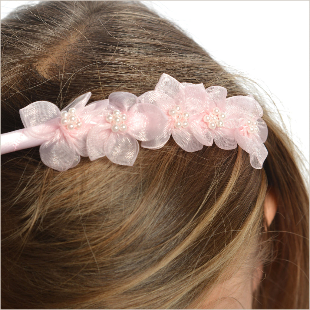 Baby Pink Hairband with Organza Flowers
