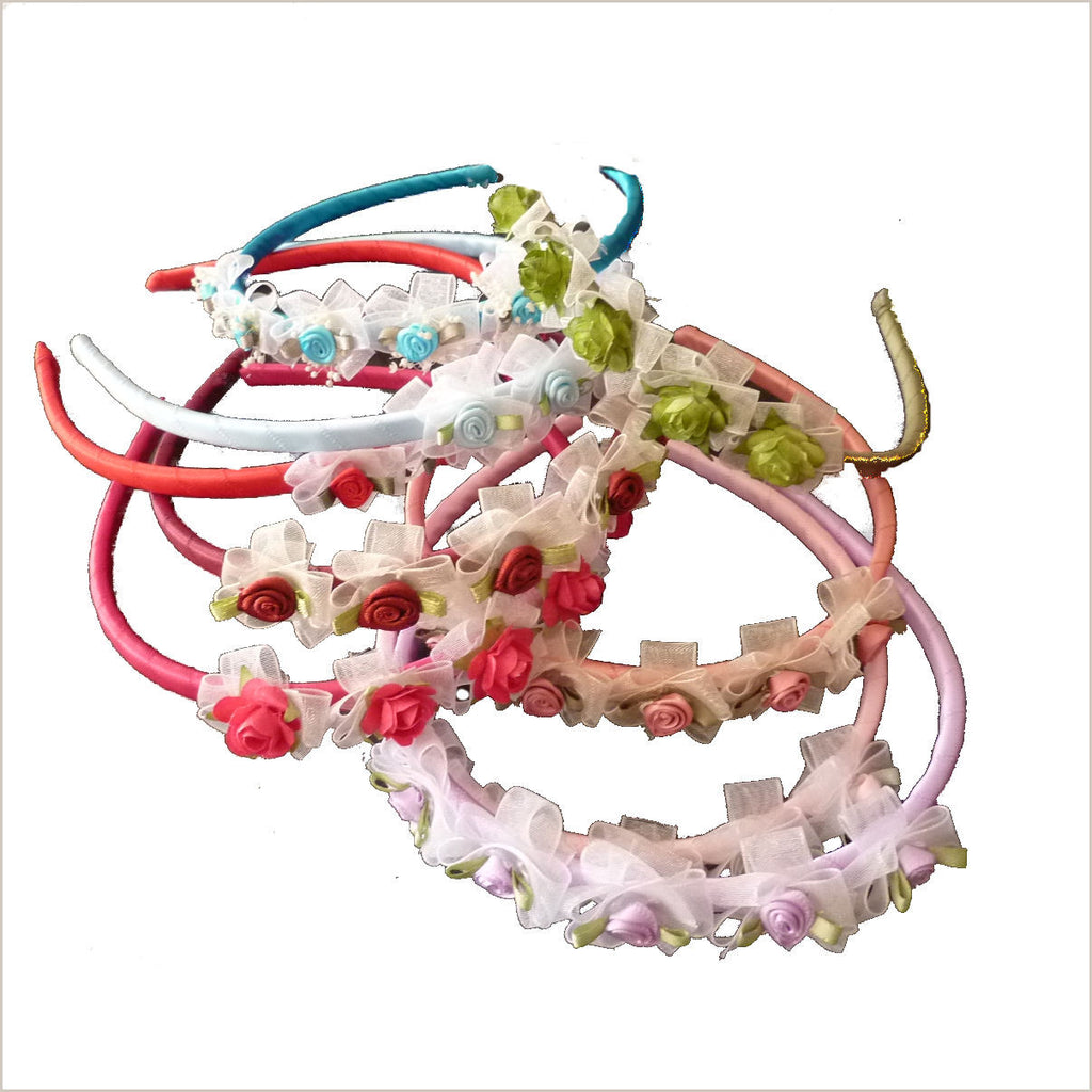 Coloured Satin Flower Headbands - many colours