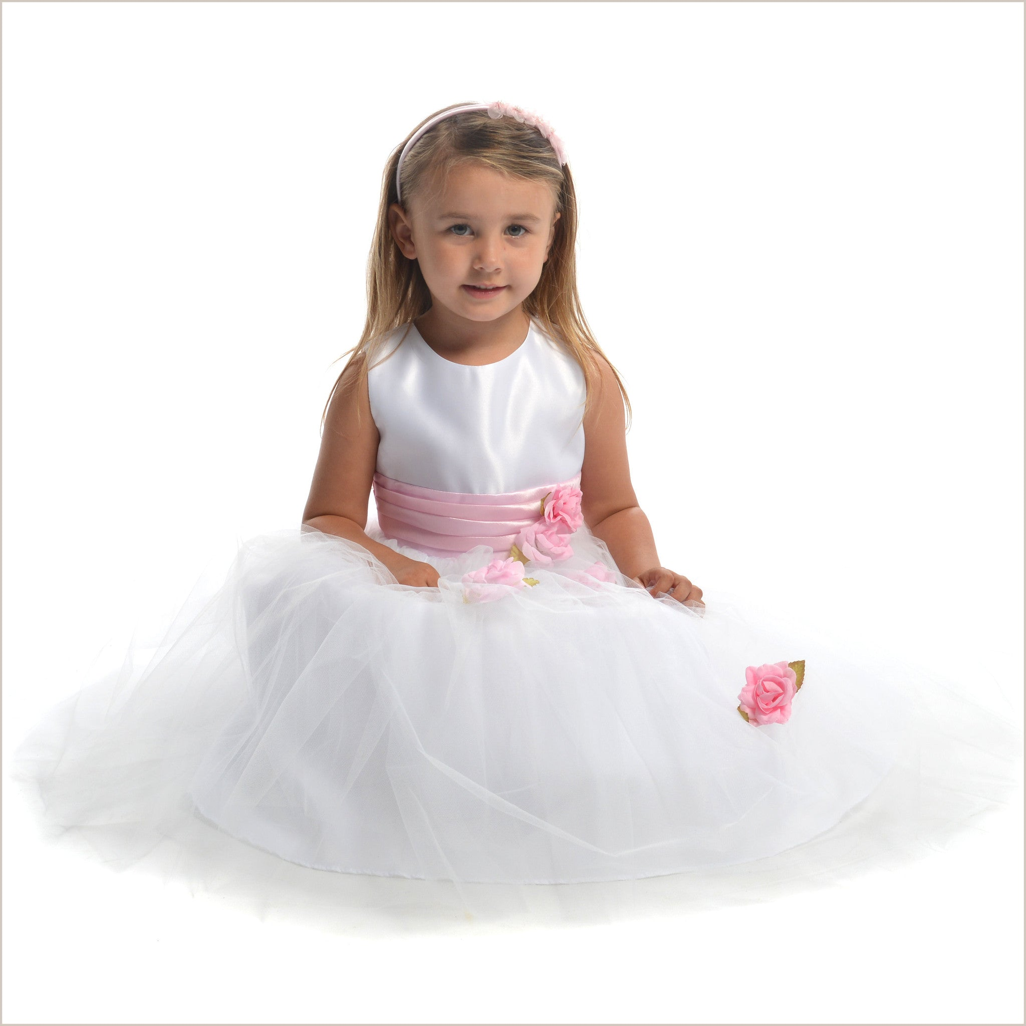 Heather White Tulle Flower Girl Dress With Pink Roses 4y Last One