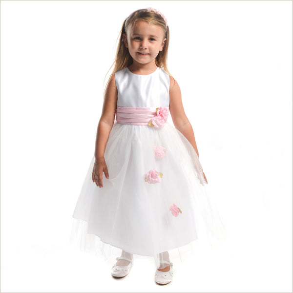 Pink flower girl dresses pink bridesmaid dresses for children heather white tulle flower girl dress with pink roses last one 4y only mightylinksfo