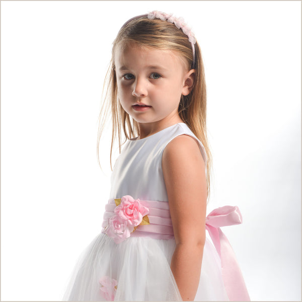 Heather white tulle flower girl dress with pink roses and sash