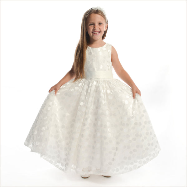 NEW Heidi Flower Girl Dress in Ivory with Circle Pattern