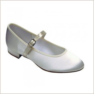 Ivory Low Heeled Flower Girl Shoes In Satin For Children