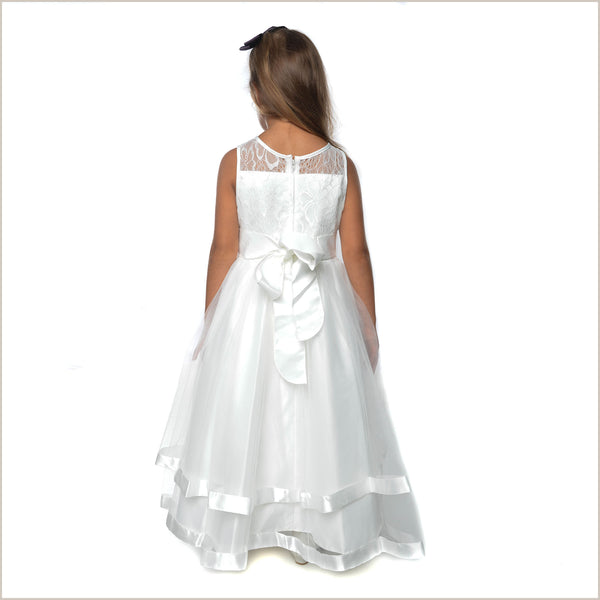 Honey Ivory Lace Flower Girl Dress