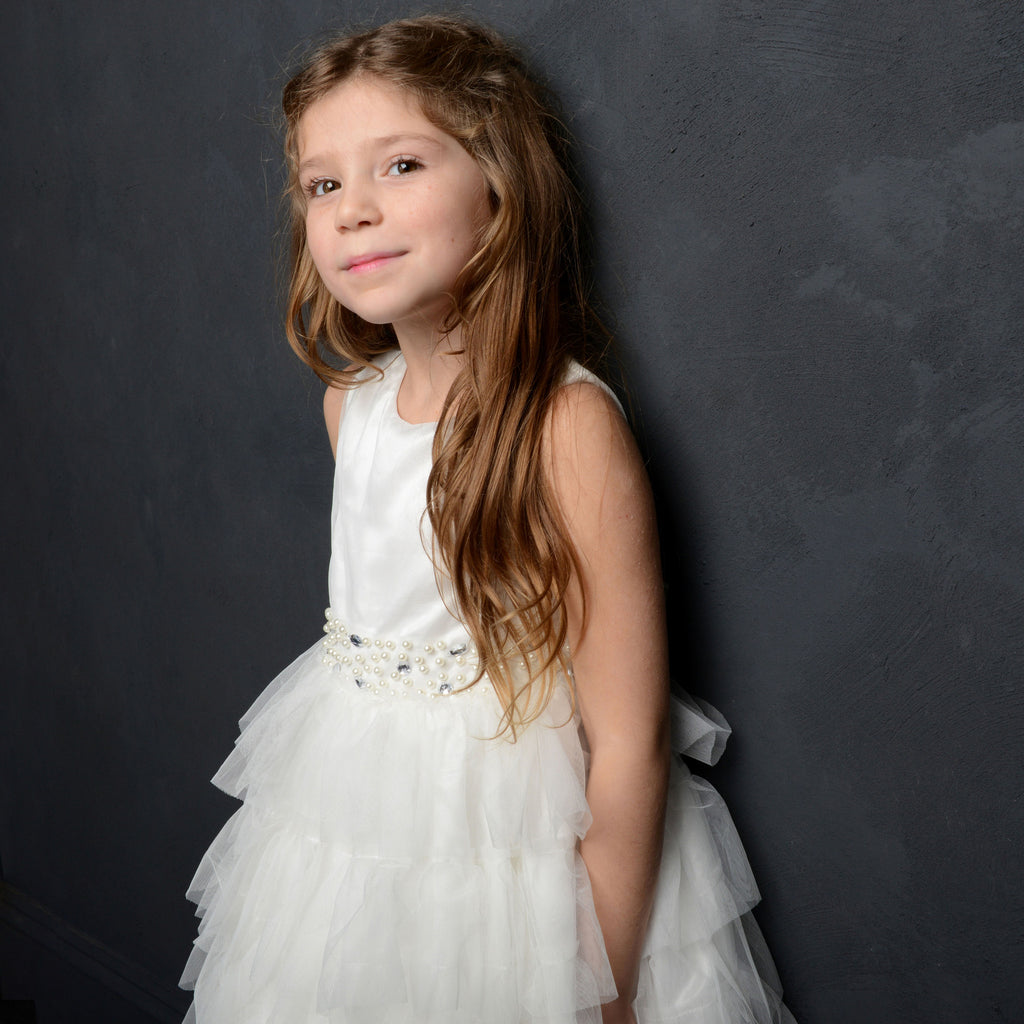 Imelda Ivory Ruffle Flower Girl Dress SAMPLE ONE ONLY 6y