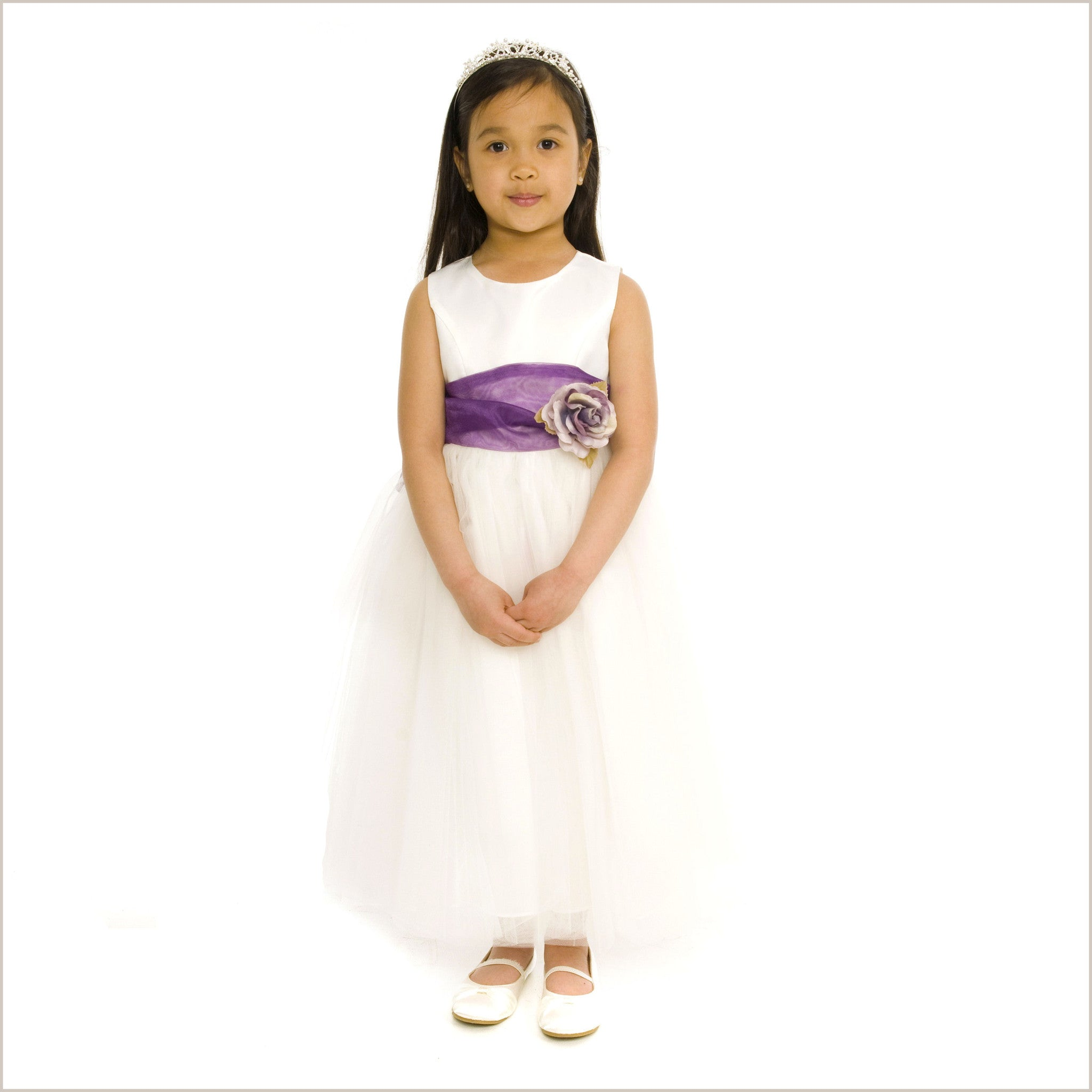 White flower girl dress white princess removable sash princess white flower girl dress mightylinksfo