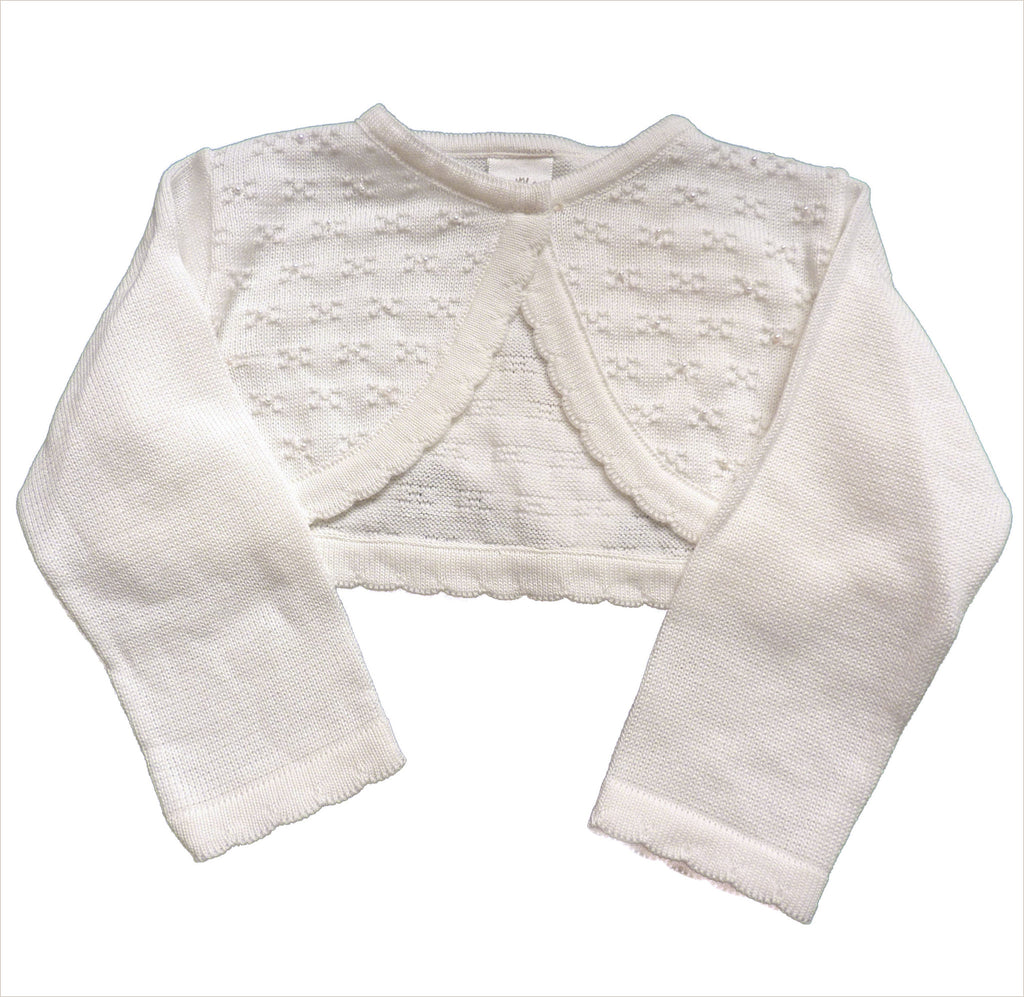 Flower Girl Cardigan in Ivory with Beading & Long Sleeves