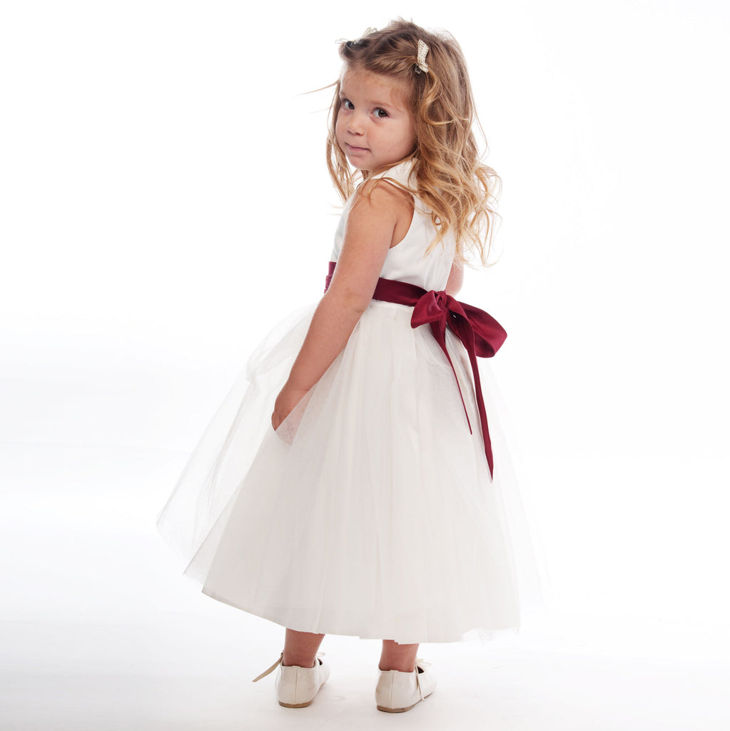 Vienna Ivory Tulle Dress with Burgundy Sash