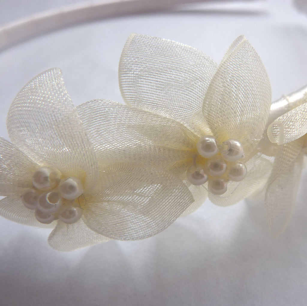 Ivory Hairband with Organza Flowers