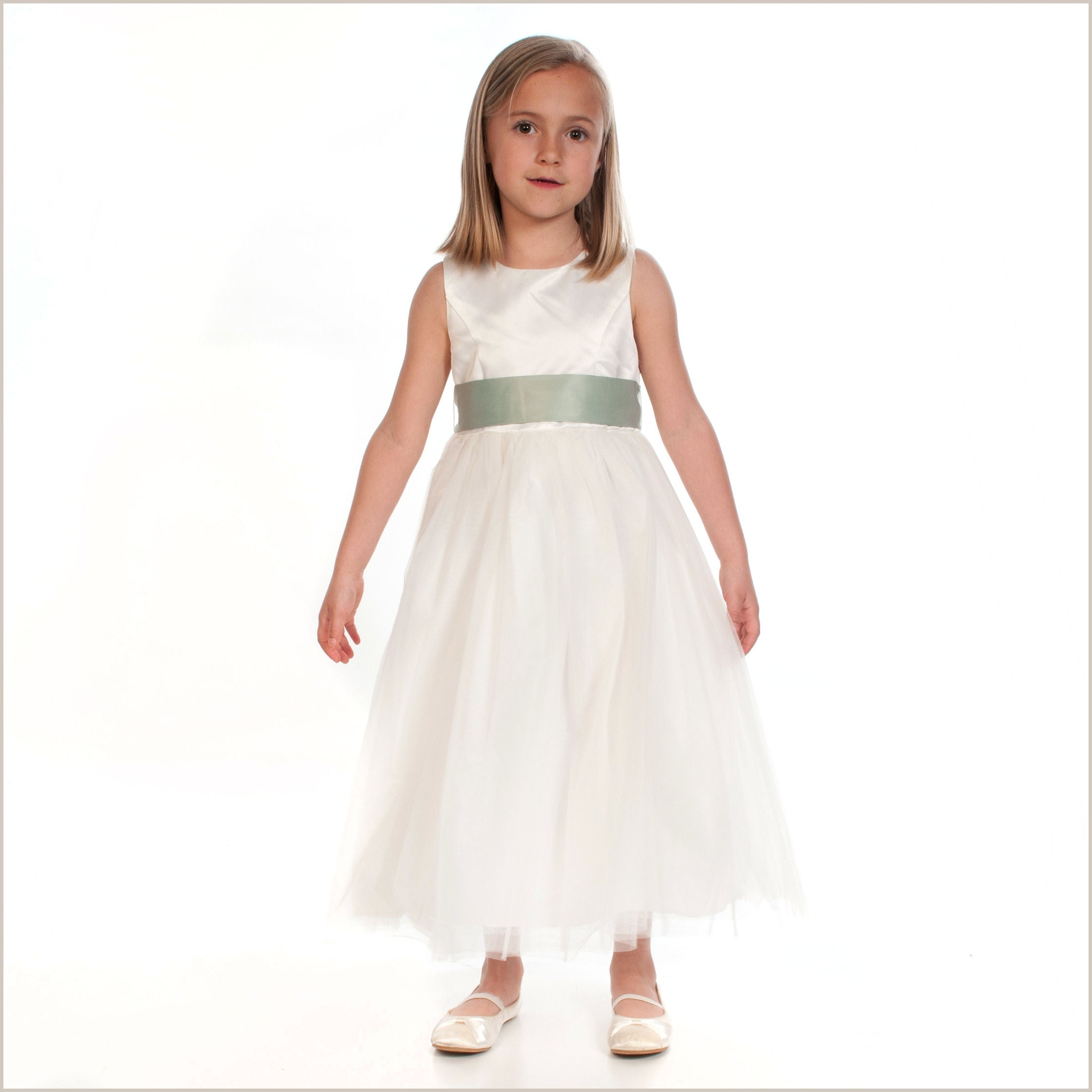 7464d3b76276 Ivory tulle flower girl dress in princess style sash