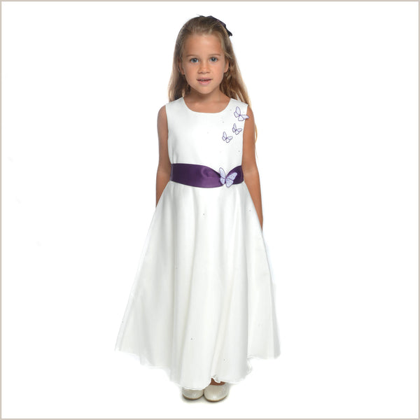 Eden Ivory Flower Girl Dress with Purple Sash & Butterflies