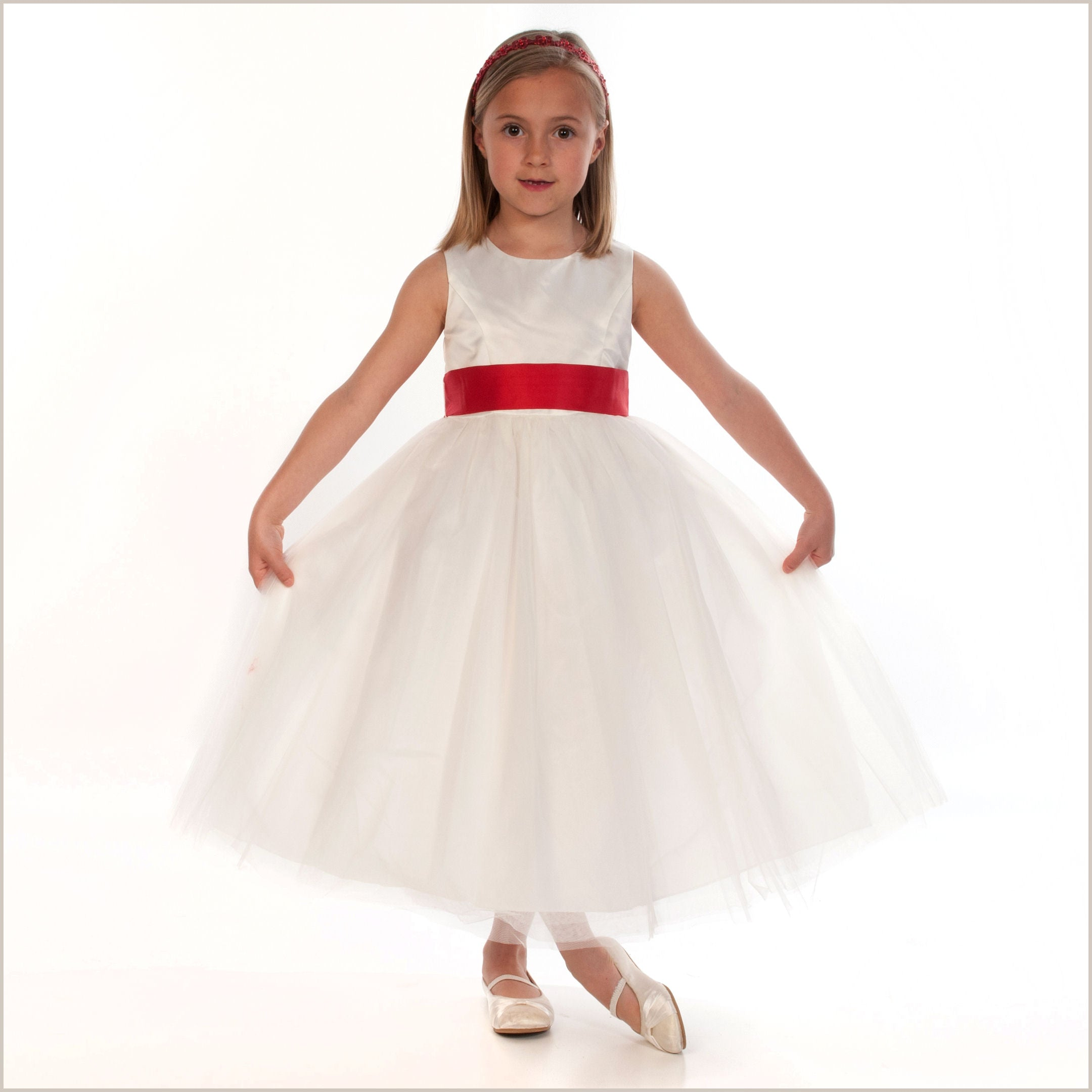 489e9491225 Ivory tulle flower girl dress in princess style sash